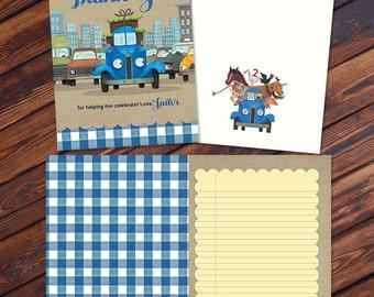 ADD ON: Thank You Card JPEG File -  Little Blue Truck Birthday