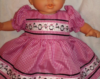 """14"""" 15"""" 16"""" American Made Girl Doll Clothes Red Check N Pequin Snowman ribbon Doll Dress Fits Baby Dolls"""