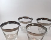Vintage Mid Century Silver Band Glasses Set Of Four
