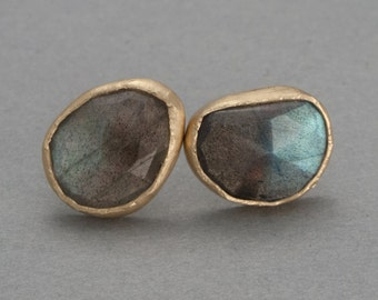 Rose Cut Labradorite and Gold Studs - One of a Kind Gemstone Earrings in Solid Gold Bezels - Ready to Ship