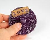 Ceramic ring holder dish, ceramic ring holder, hand built stoneware ring dish, pottery ring holder dish with LOVE, purple glaze