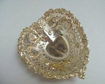 SALE-Vintage Gorham Sterling Silver Heart Shaped  Trinket Footed Dish