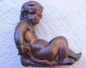 Vintage Heavy Patina Metal Sitting Cherub Angel