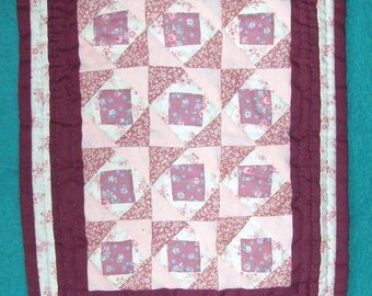 QUILT Miniature 9 3/4 x 12 inch, Pink, Rose, Wine, White, Squares in Square Traditional Design, Hand Quilted, Hanging Sleeve, USA Made