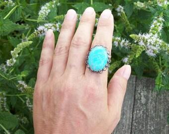 Turquoise gemstone Ring - Adjustable Silver Tone Band, large stone ring, Southwestern Boho, hippie ring