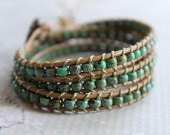 Turquoise Green Picasso Bead Triple Wrap Leather Bracelet, Wrap Bracelet, Leather Wrap, Rustic, Boho, Boho Chic, Bohemian