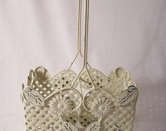 Metal Wine Basket, Shabby Chic Basket, White Metal Basket, White Wedding Basket, Flower Girl Basket
