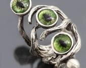 Silver Branch Ring Evil Eye Ring Dragon Eye Ring