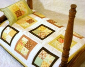 SALE - Doll Quilt, American Girl, Doll Blanket, Miniature, Doll Bed, Sasha Doll, Kidz n Cats, Yellow, Lime Green, White, Brown, White