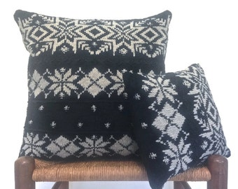 Black  Knit Pillows Snowflake Sweater Pillows Covers Linen Cotton Cushions Up Cycled Sweater 20 Inch Pillow  12 Inch Pillow Set of 2