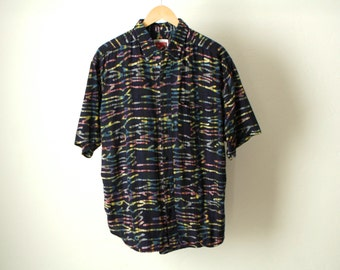 point break SURF print 80s 90s HAWAIIAN short sleeve shirt