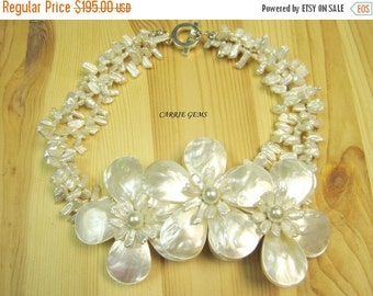 20% OFF ON SALE 3-strand Freshwater Pearl with Handmade Shell Flower Necklace