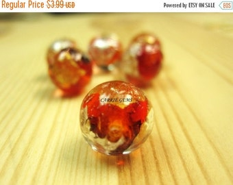 20% OFF ON SALE Silver Foil Lampwork Glass Red 12mm Round Beads, 6 pieces/package