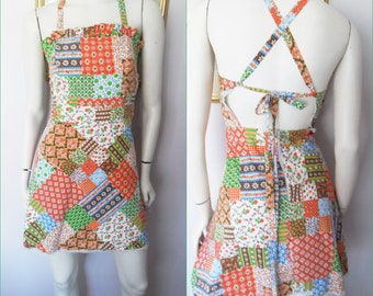 Vtg.70s Patchwork Pinafore Crossover Back Mini Dress.Small.Bust 34.Waist 27.