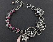 Wire wrapped bracelet, ruby bracelet, sterling silver bracelet, fine jewelry, romantic bracelet