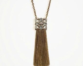 Art Deco Revival Rhinestone Tassel Necklace in Bezel Setting with Gold Rolo Chain and Marine Link Tassels  - Vintage 60's Costume Jewelry