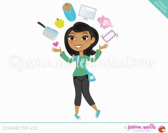 Dark Skin Juggling Mom Character Illustration, Multitasking Blog Girl, Woman Character, Juggling woman Cartoon, Blog Character #C052