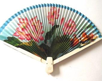Vintage Ladies Fan, Unicorn Brand Fan has Fish and Bird with Flowers Illustration, Broken Clasp