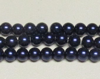 8mm Dark Navy Glass Pearls - 1 strand