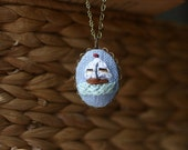 Sail Away- hand embroidered necklace, nautical, sail boat