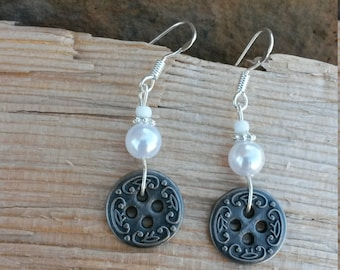 White Pearl Button Earrings, Pearl Silver Button Sterling Silver Earrings, Small Button Earrings, Silver Button Pearl Sterling Earrings