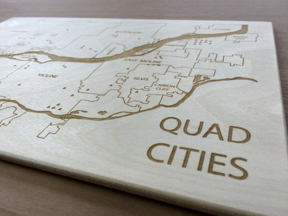 Decorating Ideas > Quad Cities Engraved Wood Map Birthday Christmas Wedding ~ 180119_Birthday Party Ideas Quad Cities