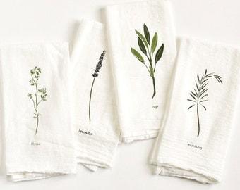 Garden Herbs Napkin Set : Set of 4 flour sack cloth napkins for tabletop place settings