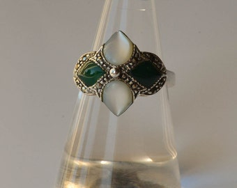 Sterling Marcasite and Moonstone Ring with Marcasite and Green Stone Size 7.5 Nickel Free Sterling Silver Ring