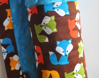 Baby Boy Orange Aqua Brown Fox and Minky Blanket, Snuggle Size, XLARGE  Minky Blanket