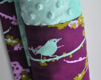 Baby Infant Toddler Girl, XLARGE Snuggle Size Blanket, Purple Aviary Bird and Mint Green Minky