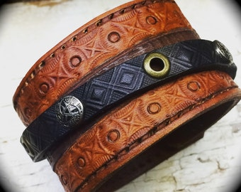 Leather Cuff-Leather Bracelet-Mens Leather Cuff-Cuff Bracelet-Jewelry For Guys-Stamped Leather Bracelet-Gifts For Men-Leather Jewelry