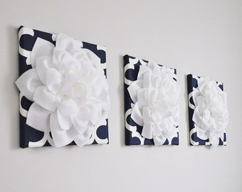 "Wall Art -Quatrefoil SET of THREE White Dahlias on Navy and White Moroccan 12 x12"" Canvas Wall Art - 3D Felt Flower- Navy Nursery Decor"