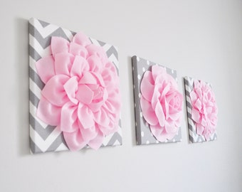 "Pink, Gray and White Wall Decor - Flowers on Polka Dot and Chevron 12 x 12"" Canvases Wall Art - Baby Nursery Wall Art"