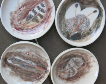 Tiny Trinket Dishes Ceramic Woodland Bird Feathers Hand Drawn Fine Art One of a Kind Home Decor, Handmade Pottery by Licia Lucas Pfadt