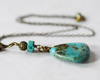 Bohemian Rustic Turquoise Necklace Green Turquoise Pendant Bobo Rugged Stone Necklace Green Necklace Brass Teardrop Necklace Gift for Her