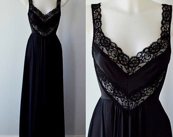 Vintage Undercover Wear Black Nightgown, Vintage Nightgown, Vintage Black Nightgown, Nightgown, Romantic