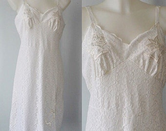 Vintage White Lace Full Slip, A Vogue Creation by Beauty Form, White Full Slip, Vintage White Slip, 1950s White Full Slip