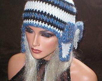 35 % OFF SALE Crochet Women White Black Blue Metallic Mohair Teardrop Bead Bow Ear Flap Hat Snowboard Hat