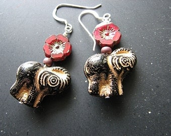 Black and gold earrings | elephant | red flower | hibiscus | bohemian | miniature animal | glass