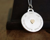 Personalized Locket Necklace - sterling silver locket with 14k gold heart