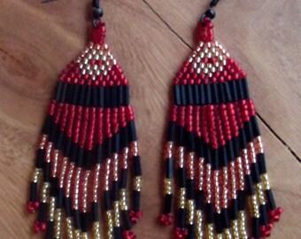 Native American style earrings, Native American Style Beaded Earrings, Red American Style Beaded Earrings