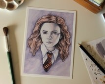 Hermione Granger. 5x7 Fine Art Archival Print. Harry Potter Fan Art. Watercolor Illustration
