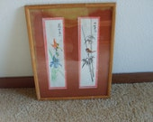 Vintage Chinese Watercolor Painting Flowers, Bird, Bamboo, and Butterfly, Framed Watercolor