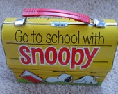 Snoopy Metal Lunch Box Dome Top by Thermos, Vintage Metal Lunch Box