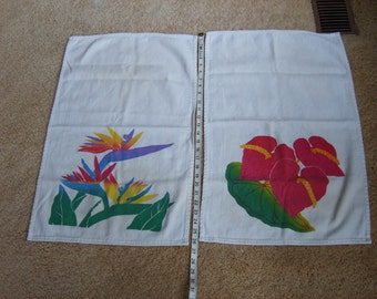 Vintage Hawaiian Kitchen Towels, Hawaiian Flower Towels