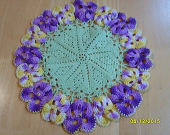 Vintage Crochet Doily with Purple and Yellow Pansies