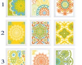 Mandala Yellow White Green Orange Modern inspired wall art gallery - Choose Any (6) Wall Art Print -Custom colors and sizes available