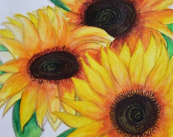 Still Life Sunflower  Painting, Original on Paper, 3 sunflowers  11x14, Floral Kitchen Wall Decor, Purple, Spring MATTED TO 16X20