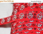 """ON SALE 10% off 1, 4, or 10 yards RED Black White Peace Signs headband yoga Hair Ties Foe stretch foldover elastic 5/8"""" wide"""