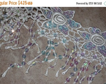 """ON SALE 10% off 1 yard Off White Cream Ivory VENISE embroidered floral scalloped fringe Trim Bridal lace iridescent sequins 9"""" wide e4"""